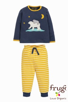 Frugi Organic Pyjamas With Polar Bear Appliqué