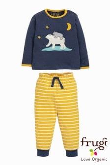 Пижама с аппликацией белого медведя Frugi Organic