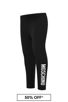 Moschino Kids Baby Girls Black Cotton Leggings