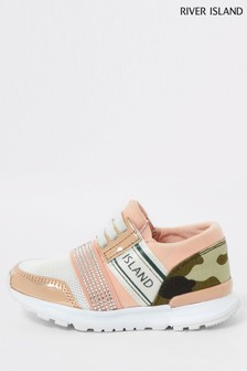 River Island Pink Mini Camo Embellished Strap Runner Trainers