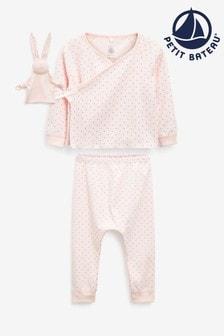 Petit Bateau Pink Oufit And Toy Set
