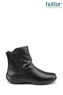 Hotter Black Whisper Twin Zip Fastening Ankle Boots