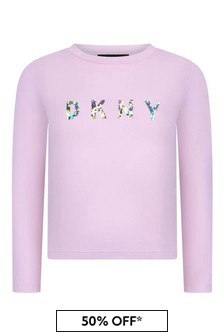 Girls Pink Cotton Long Sleeve T-Shirt