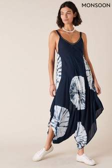 Monsoon Blue Sequin Tie-Dye Romper