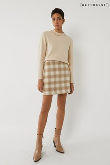 Warehouse Brown Check Pelmet Mini Skirt