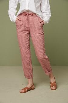 31inch Leg  by Next Parallel Sand Linen Blend Drawstring Waist Trousers