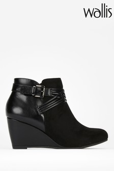 Wallis Black Ashala Lattice Detail Wedge Boots