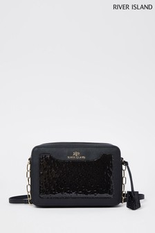 River Island Black Embossed Front Boxy Bag