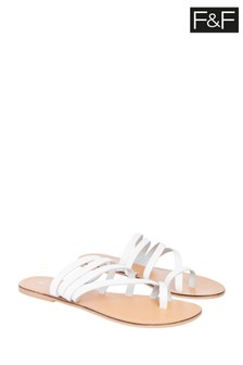 F&F White Leather Toe Strap Sandals