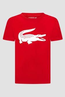 Lacoste Kids Sport Boys Red Crocodile Short Sleeves T-Shirt