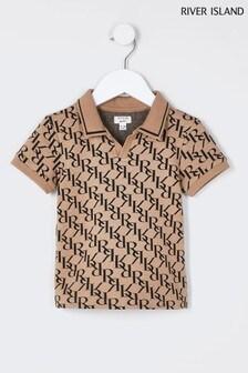 River Island Grey Monogram Polo Shirt