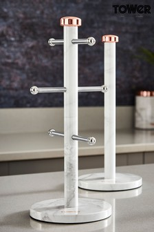 Set of 2 Marble Kitchen Roll Holder And Mug Tree Stand by Tower