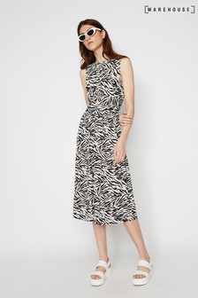 Warehouse Animal Zebra Print Twist Front Dress