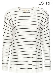 Esprit White Sweater With Stripes And Button Details