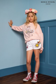 Sonia Rykiel White Embroidered Denim Shorts