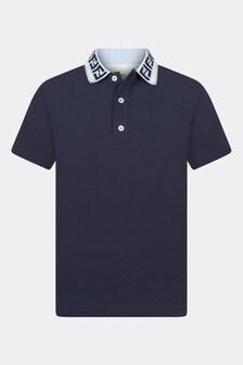 Fendi Kids Boys Navy Cotton Polo Top