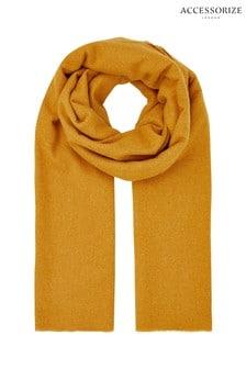 Accessorize黃褐色Wells超柔長毯圍巾