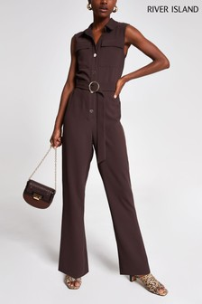 River Island Choc Safari Jumpsuit