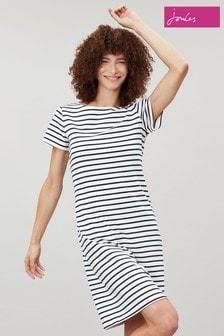 Joules Cream Riviera Short Sleeve Jersey Dress