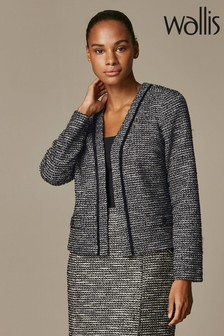 Wallis Black Mono Jacquard Jacket