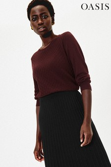 Oasis Purple Raised Stitch Jumper