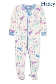 Hatley Cream Playful Ponies Organic Cotton Footed Coverall