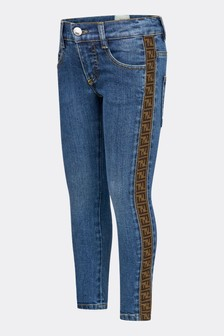 Fendi Kids Boys Blue Cotton Jeans