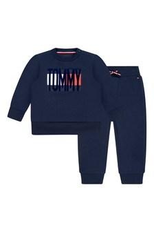 Baby Boys Navy Cotton Logo Tracksuit