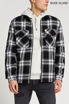 River Island Black Mono Check Overshirt