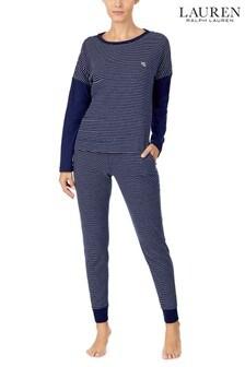 Lauren Ralph Lauren Lounge Long Sleeve Logo Top And Jogger Set