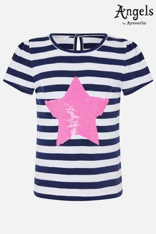 Angels By Accessorize White Reversible Sequin Heart Stripe T-Shirt