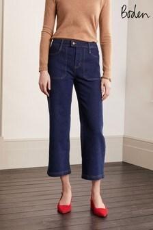 Boden Blue Cropped Wide Leg Cargo Jeans