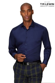 T.M. Lewin Navy Premium Satin Slim Fit Single Cuff Shirt