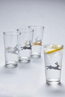 Set of 4 Hare Hi Ball Glasses