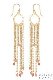 Oliver Bonas Multi Chain & Stone Drop Gold Plated Earrings