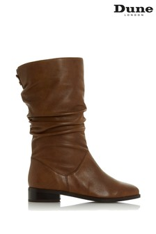 Dune London Rosalinda Tan Leather Ruched Calf Boots