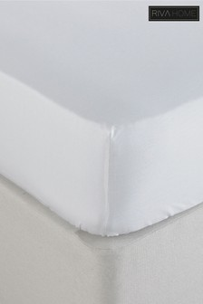 Riva Home White 250 Thread Count Stonewashed Fitted Sheet