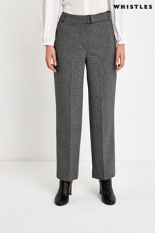 Whistles Grey/Multi Anita Cropped Check Trousers