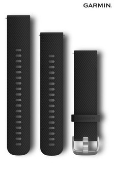 Garmin Quick Release Watch Band 20mm Black Silicone Band With Silver Hardware