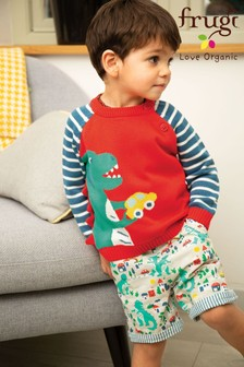 Frugi GOTS Organic Reversible Shorts In Blue Seersucker And Dinosaur Print