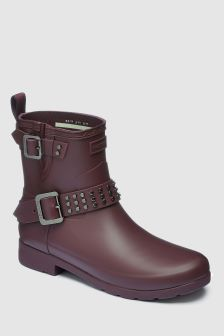 Hunter Oxblood Refined Stud Short Biker Boot