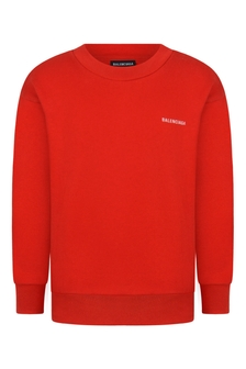 Kids Red Cotton Logo Sweater