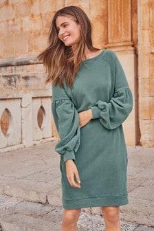 Pulóvrové šaty s naberanými rukávmi