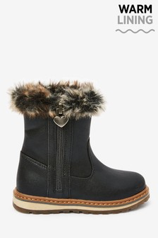 Warm Lined Charm Zip Boots (Younger)