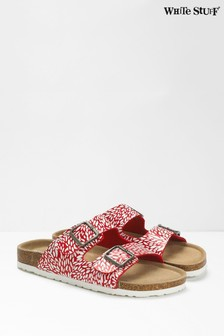 White Stuff Red Multi Double Strap Printed Footbed Sandals