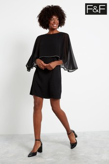 F&F Black Cape Trim Pleated Dress