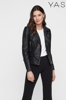 Y.A.S Black Contrast Zip Leather Jacket