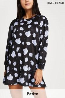 River Island Petite Black Floral Frill Hem Mini Dress