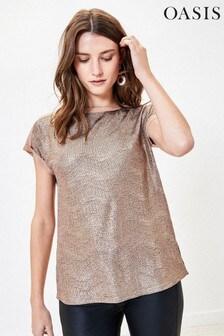 Oasis T-Shirt mit gerollten Ärmeln, Gold-Metallic