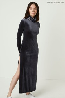 French Connection Grey Stina Velvet Jersey Dress